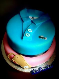 Lacoste Golf Shirt cake Birthday Cakes For Men, Unique Cakes, Creative Cakes, Shirt Cake, Baby Shirts, Cake Tutorial, Fondant Cakes, Celebration Cakes, Cupcake Cookies