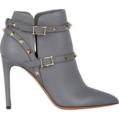 Valentino Rockstud Ankle Boots (1,810 CAD) ❤ liked on Polyvore featuring shoes, boots, ankle booties, heels, ankle boots, booties, grey, pointed toe ankle boots, buckle ankle boots and heeled ankle boots
