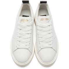Golden Goose White Starter Low-Top Sneakers ($540) ❤ liked on Polyvore featuring shoes, sneakers, tenis, white lace up shoes, white sneakers, golden goose shoes, rubber sole shoes and white low top shoes