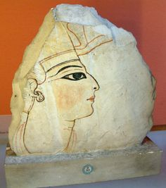 Portrait of a pharaoh, probably Rameses VI. Painted shard of limestone, 1143–1136 BC (20th Dynasty).