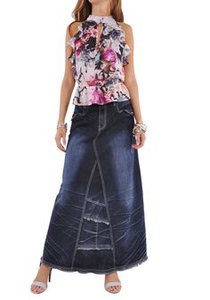 "* floor length 38.5"" * regular fit * stretch blue denim * four pockets A-line style * wrinkled & fringed hem design * rhinestone & distressed pocket detail * 99% cotton, 1% spandex * Treat your femini"