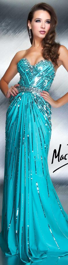 Mac Duggal couture dress aqua