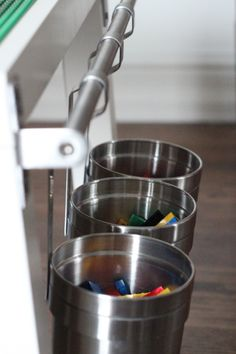 lego table with hanging buckets -Must add to LEGO table!!!!
