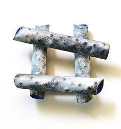Annamaria Zanella brooch - Galerie Noel Guyomarch – Broche, Birch, 2011  Argent, émail, or  6.5 x 5.5 x 1.8 cm