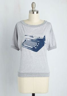 Write Your Bestseller Tee - Grey, Short Sleeves, Novelty Print, Casual, Mid-length, Eco-Friendly, Best Seller, Scoop, Grey, Short Sleeve, Better, Scholastic/Collegiate, Good, 4th of July Sale, Lounge