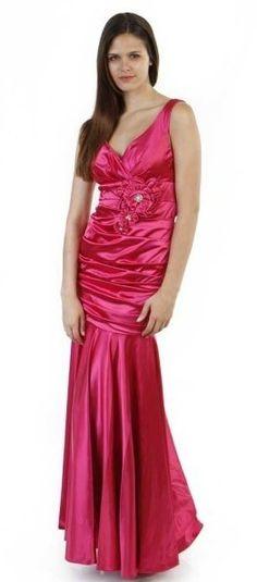 Popular Hot Pink Formal Dress V Neck Wide Strap Pleated Mermaid Gown Pink Formal Dresses, Hot Pink Dresses, Cute Dresses, Marine Ball Dresses, Formal Fashion, Mermaid Gown, Nightwear, Stiletto Heels, Classy