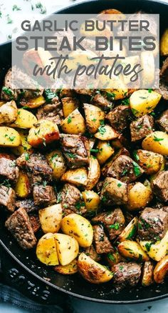 Garlic Butter Herb Steak Bites with Potatoes are such a simple meal that is full. - Garlic Butter Herb Steak Bites with Potatoes are such a simple meal that is full. Garlic Butter Herb Steak Bites with Potatoes are such a simple mea. Grilled Steak Recipes, Healthy Steak Recipes, Steak Meals, Steak Dinner Recipes, Food Recipes For Dinner, Simple Steak Recipes, Dinner Ideas With Steak, Dinner Ideas With Potatoes, Simple Cooking Recipes