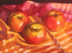 'Three Apples' oil painting by Fiona Craig, available in wall prints, duvets, throw pillows and tote bags (the FAA watermark is NOT on the actual products) at www.fionacraig.com