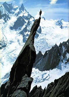 Gaston Rébuffat atop the aiguille du Roc, Mont Blanc massif, France; ca.1944. This was photo was chosen to be included on the Golden Record on Voyager 1 and 2.