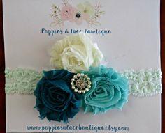Mint Headband, Baby Headband, Shades of Blue Headband, Newborn Headband, Shabby Chic Headband, Lace Headband