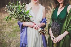woodsy mucha-inspired green arm bouquet and lavender bouquet by me Wedding inspiration