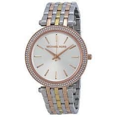 $128.26 Michael Kors Michael Kors Darci Silver Dial Tri-tone Stainless Steel Ladies Watch MK3203