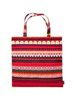 Marimekko Raanu Red/Green Tote Bag Stare too long at this intrepid print and you may just get lost. Full to the brim with color, pattern, and character, the Marimekko Raanu Red/Green Tote Bag adds character to any outfit. Named after Fi. Marimekko Bag, Scandinavia Design, Native Art, Red Green, Straw Bag, Purses And Bags, Graphic Design, Creative, Juices
