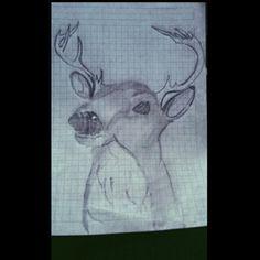 Dibujo de un venado Técnica: lápiz 2h Autor: Su servilleta