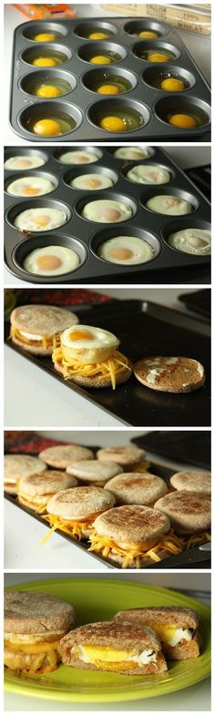 "Delicious Breakfast Sandwiches Recipe -Previous pinner wrote, ""These were pretty easy! Kinda took awhile with all the steps so they would be best for a brunch or larger breakfast group. We used a muffin top tin instead of a regular muffin tin and adjusted Breakfast Sandwich Recipes, Breakfast Desayunos, Breakfast Dishes, Breakfast Parties, Sandwich Ideas, Brunch Party, Office Breakfast Ideas, Breakfast Ideas With Eggs, English Muffin Breakfast"