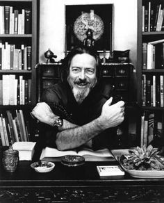 "i12bent: Alan Watts - great Zen popularizer and philosopher - born in England on Jan. 6, 1915 (d. 1973) lived most of his life in the US. He tried to fuse Buddhism and Christianity into a uniquely contemporary and Western spirituality. ""I'll tell you what hermits realize. If you go off into a far, far forest and get very quiet, you'll come to understand that you're connected with everything."" — A.W."