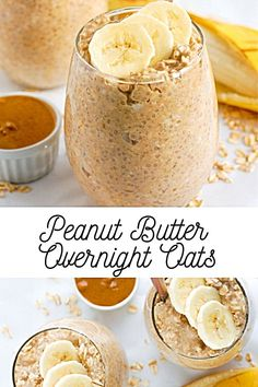 Dairy Free Overnight Oats, Overnight Oats With Yogurt, Peanut Butter Overnight Oats, Easy Overnight Oats, Healthy Peanut Butter, Healthy Food, Healthy Drinks, Healthy Recipes, Dog Recipes