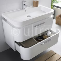 Wall Mounted Vanity Unit from the Oblique range by Ultra.
