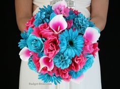 Hot Pink And Turquoise Wedding Flowers Complete Packages Starting At 100 Blue Pinterest