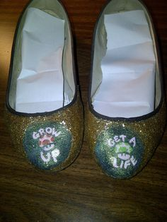 """Mario 1-up and power-up glitter shoes (""""Grow up"""" and """"Get a Life"""")."""