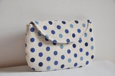 Summer Sale 10 OFF Blue Polka Dot Linen Clutch by SheetaDesign, $23.00