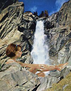 ' Bathtime ' Collage on paper © Sammy Slabbinck 2014 portfolio / flickr / shop / facebook