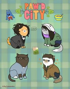 Broad City Cats Paw'd City 8x10in. print by KittyCassandra
