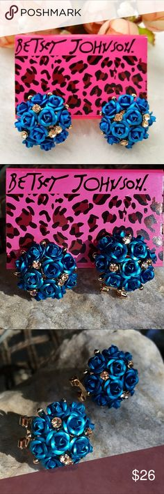 BETSEY JOHNSON blue roses & rhinestones   earrings Gorgeous blue metallic roses sprinkled here and there with champagne rhinestones. Posts with comfortable lever back. Brand new, also available in burgundy, gold and silver roses as shown in last photo, sold separately here in my boutique. Jewelry Earrings