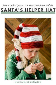 Santa's Helper Free Crochet Elf Hat Pattern (With Ears! Crochet Santa Hat, Crochet Christmas Hats, Christmas Crochet Patterns, Holiday Crochet, Crochet Hats, Crochet Tunic, Crochet Patterns For Beginners, Easy Crochet Patterns, Crochet Stitches