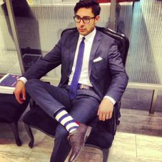 black with blue check suit, polka dot tie, and happy socks. Black Suit Brown Shoes, Black Suits, Blue Check Suit, Polka Dot Tie, Happy Socks, Suit And Tie, Formal Wear, Mens Suits, Men's Style