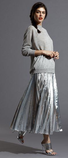 Make your metallic moment work for day or night with DKNY's statement making Metallic Pleated Maxi Skirt & Metallic Knit Pullover! #fashion