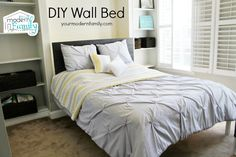 DIY Murphy bed for only $150!  Buy the plans or watch 2 videos and get it done in one weekend. http://www.yourmodernfamily.com/diy-wall-bed/