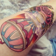 Tattoo - Air balloon - Color - Flower