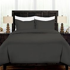 Zen Bamboo Ultra Soft Rayon Derived From Bamboo Duvet Cover Set - Hypoallergenic and Wrinkle Resistant - Full/Queen - Gray Special Deals, Bed Sheet Sets, Duvet Cover Sets, Zen, Count, Bamboo, Gray, Luxury, Furniture