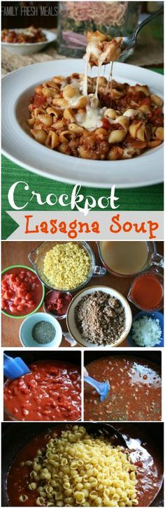 Crockpot Lasagna Soup - Best soup EVER! | FamilyFreshMeals.com