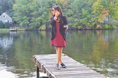 Maroon Slip Dress at the lake