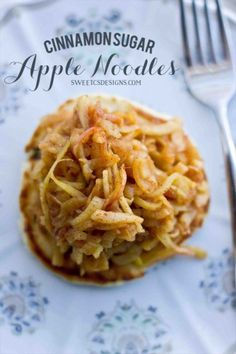 cinnamon sugar apple noodles- these are a delicious, gluten free sweet treat! Can be made paleo, too!