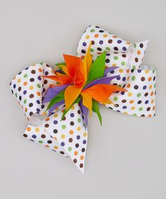 Another great find on #zulily! White & Orange Polka Dot Bow Clip by Picture Perfect Hair Bows #zulilyfinds
