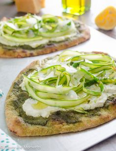 Shaved Asparagus Ricotta Flatbread is an easy, flavorful flatbread with pesto, creamy ricotta and ribbons of shaved asparagus! @FlavortheMoments #eatseasonal