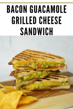 This buttery and toasty grilled cheese sandwich stuff with creamy guacamole, crispy bacon, and melted cheese is super easy to make and so good! A buttery and toasty grilled cheese sandwich stuffed with cool and creamy guacamole, crispy bacon and melted jack and cheddar cheese. The crunchy crumbled tortilla chips in this grilled cheese pay tribute to the classic combination of tortilla chips and guacamole dip. #Bacon #GuacamoleGrilled #Cheese #Sandwich