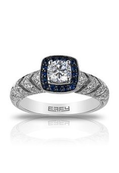 18K Gold Diamond & Sapphire Engagement Ring, 1.17 TCW from Effy Bridal #dreamring