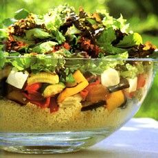 Delia's Roasted Vegetable Couscous Salad with Harissa-style Dressing. absolutely delicious salad