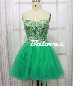 Green Dress, Cocktail Dress, Tulle Dress, Green Cocktail Dress, Sweetheart Dress