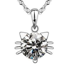 Lady 925 Sterling Silver CAT Crystal Rhinestone Pendant Chain Necklace 18""