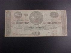 1861 CORPORATION OF RICHMOND $1 OBSOLETE NOTE CURRENCY ~ VG - ORIGINAL
