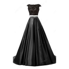 Black Ball Gown Scoop Neck Lace Satin Sweep Train Open Back Two Piece... (€125) ❤ liked on Polyvore featuring dresses, gowns, satin prom dresses, long prom gowns, satin gown, long evening gowns and long lace evening dresses