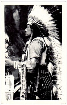OSAGE Chief Pahsetopah, c.1940. Real Photo Postcard edited c.1940-1950.