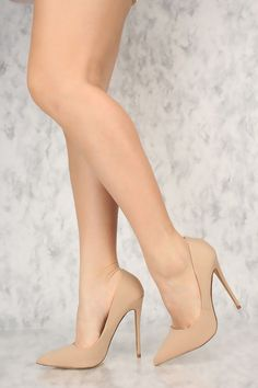 Sexy Nude Pointy Toe High Heels Single Sole