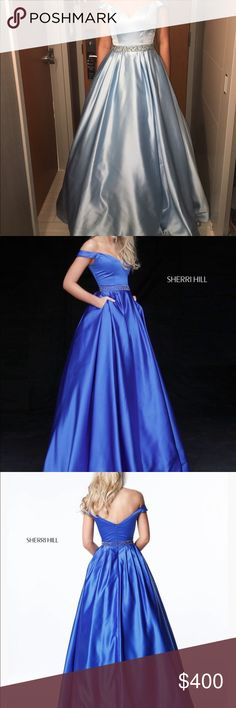 Sherri Hill size 6 light blue ball gown Worn only 1 time - excellent condition - has pockets. Retails for $550 Sherri Hill Dresses Prom