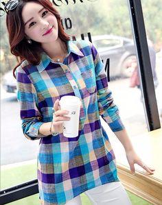 75c9c98e2e Click to Buy    Plus Size Plaid Shirt Women Fashion 2017 Korean Style Lapel  Long Sleeve Shirt Women Casual Cotton Linen Long Plaid Shirt  Affiliate